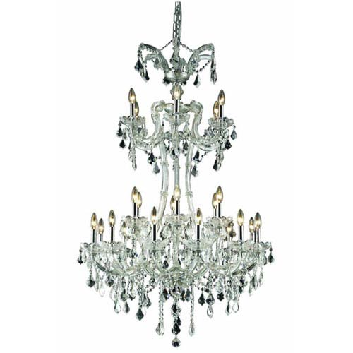 Elegant Lighting Maria Theresa Elegant Cut Crystal Chrome 24 Light 50-in Chandelier