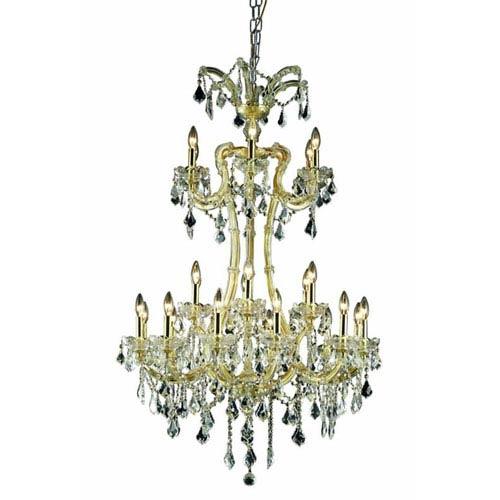 Elegant Lighting Maria Theresa Elegant Cut Crystal Gold 24 Light 50-in Chandelier