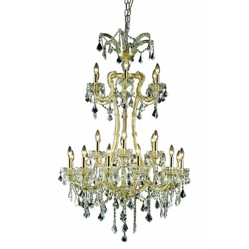 Elegant Lighting Maria Theresa Royal Cut Crystal Gold 24 Light 50-in Chandelier