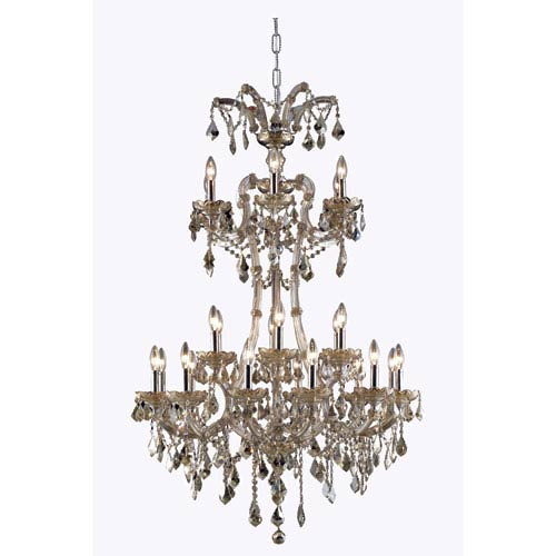 Elegant Lighting Maria Theresa Royal Cut Crystal Golden Teak 24 Light 50-in Chandelier