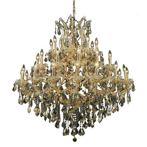 Elegant Lighting Maria Theresa Gold Thirty-Seven Light 44-Inch Chandelier with Royal Cut Golden Teak Smoky Crystal