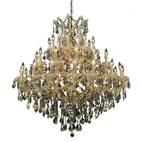 Elegant Lighting Maria Theresa Royal Cut Crystal Golden Teak 37 Light 44-in Chandelier