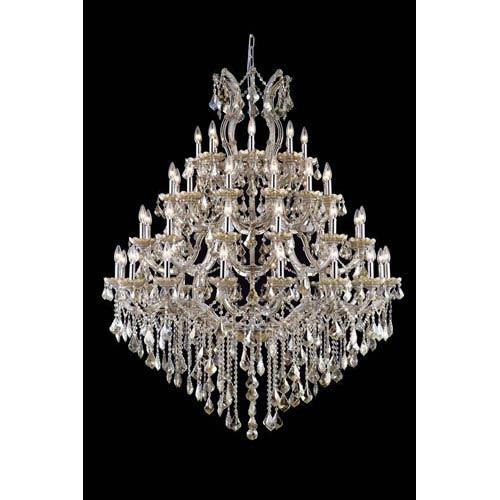 Elegant Lighting Maria Theresa Royal Cut Crystal Golden Teak 49 Light 62-in Chandelier