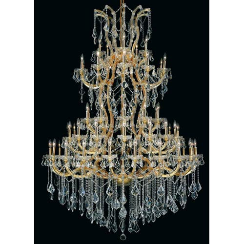 Elegant Lighting Maria Theresa Gold Sixty-One Light 54-Inch Chandelier with Royal Cut Clear Crystal