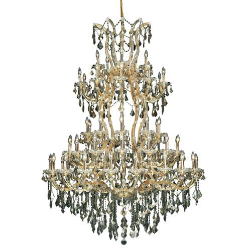 Maria Theresa Gold Sixty-One Light 54-Inch Chandelier with Royal Cut Golden Teak Smoky Crystal