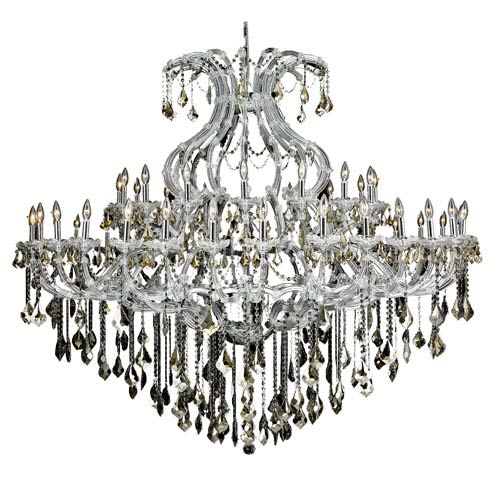 Elegant Lighting Maria Theresa Chrome Forty-Nine Light 72-Inch Chandelier with Royal Cut Golden Teak Smoky Crystal