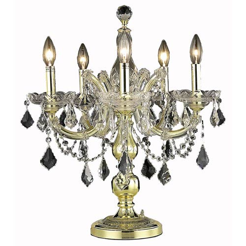 Elegant Lighting Maria Theresa Gold Five-Light Table Lamp with Clear Royal Cut Crystals