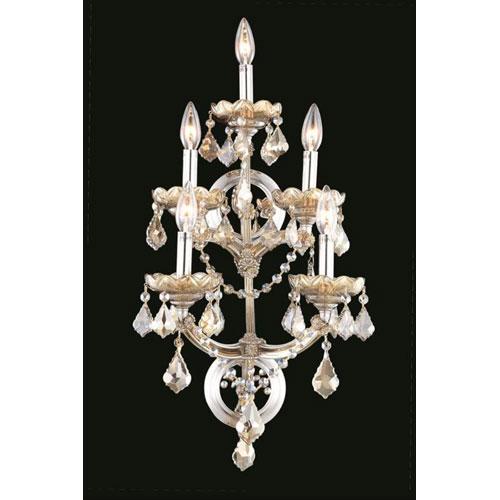 Elegant Lighting Maria Theresa Royal Cut Crystal Golden Teak Five Light 29.5-in Wall Sconce