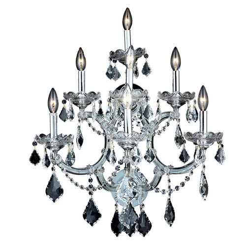 Elegant Lighting Maria Theresa Chrome Seven-Light 22-Inch Wall Sconce with Royal Cut Clear Crystal