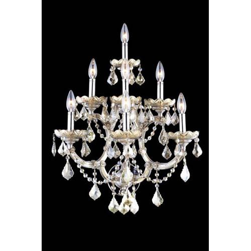 Elegant Lighting Maria Theresa Swarovski Strass Crystal Golden Teak Seven Light 29.5-in Wall Sconce