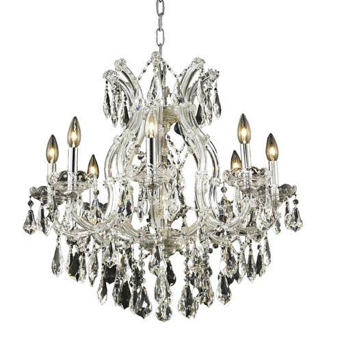 Elegant Lighting Maria Theresa Chrome Nine-Light 26-Inch Chandelier with Royal Cut Clear Crystal