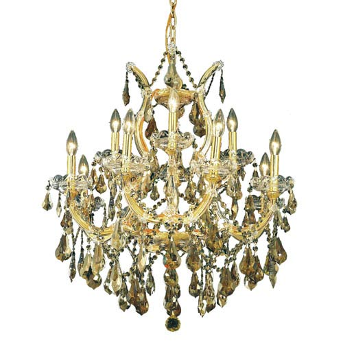 Elegant Lighting Maria Theresa Gold Thirteen-Light 27-Inch Chandelier with Royal Cut Golden Teak Smoky Crystal