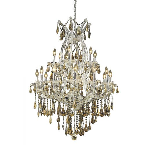 Elegant Lighting Maria Theresa Chrome Nineteen-Light 32-Inch Chandelier with Royal Cut Golden Teak Smoky Crystal