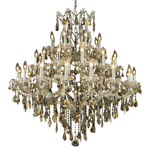 Elegant Lighting Maria Theresa Chrome Thirty-Seven Light 44-Inch Chandelier with Royal Cut Golden Teak Smoky Crystal