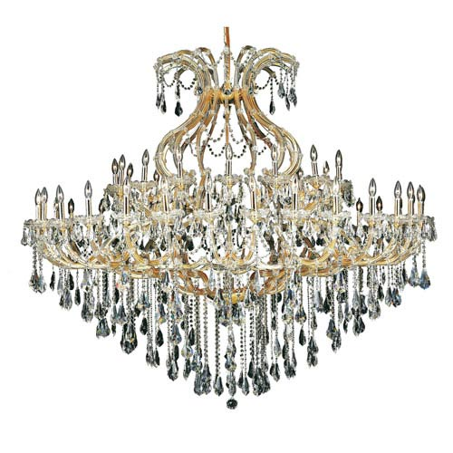 Elegant Lighting Maria Theresa Gold Forty-Nine Light 72-Inch Chandelier with Royal Cut Clear Crystal
