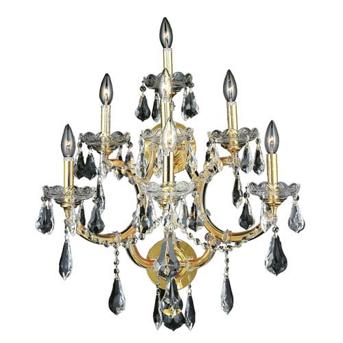 Maria Theresa Gold Seven-Light 22-Inch Wall Sconce with Royal Cut Clear Crystal