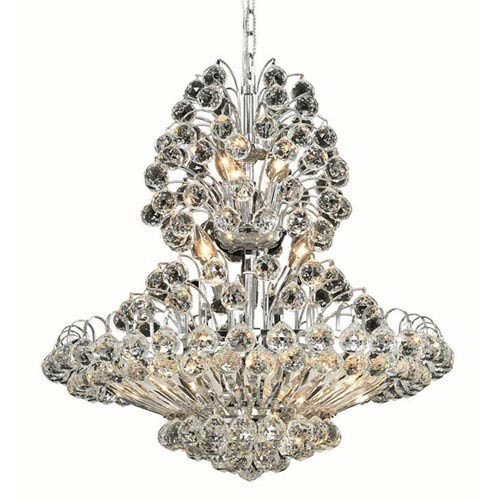 Elegant Lighting Sirius Chrome Fourteen-Light 24-Inch Chandelier with Royal Cut Clear Crystal