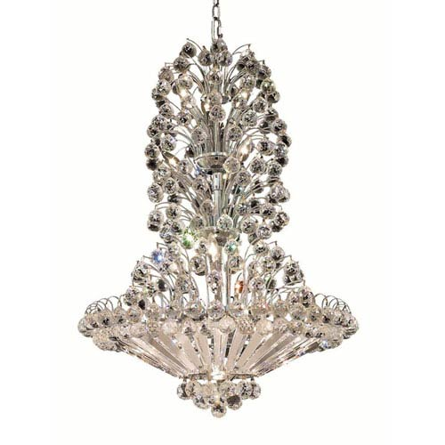 Elegant Lighting Sirius Chrome Fourteen-Light 28-Inch Chandelier with Royal Cut Clear Crystal