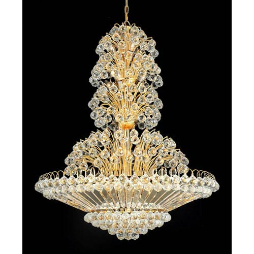 Elegant Lighting Sirius Gold Thirty-Three Light 36-Inch Pendant with Royal Cut Clear Crystal