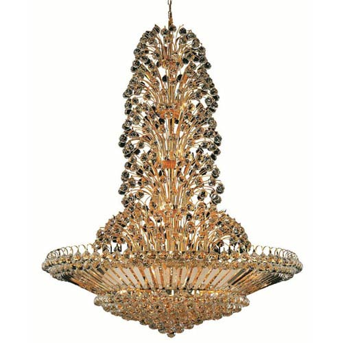Elegant Lighting Sirius Gold Forty-Three Light 48-Inch Pendant with Royal Cut Clear Crystal