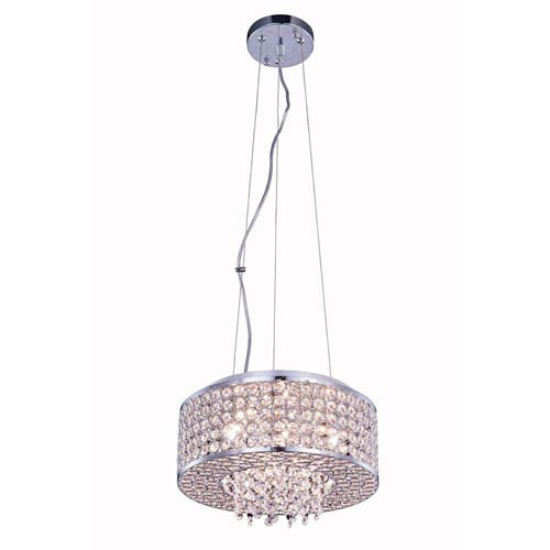 Elegant Lighting Amelie Chrome Four-Light Pendant with Royal Cut Crystal