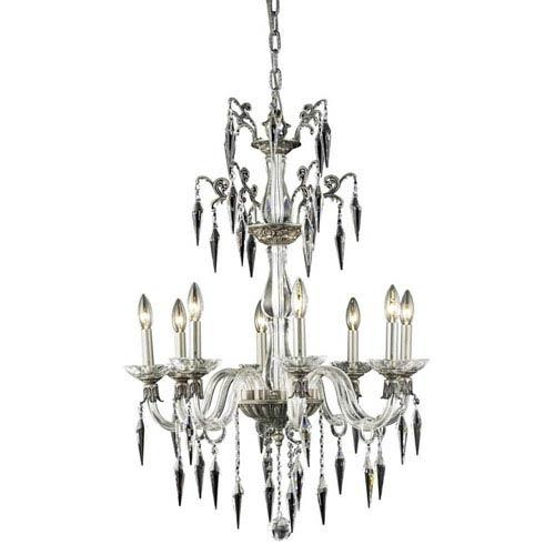 Elegant Lighting Grande Pewter Eight-Light Chandelier with Elegant Cut Crystal
