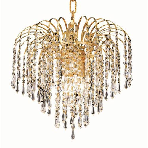 Elegant Lighting Falls Gold Four-Light 14-Inch Pendant with Royal Cut Clear Crystal