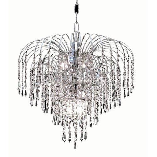Elegant Lighting Falls Chrome Six-Light 19-Inch Pendant with Royal Cut Clear Crystal
