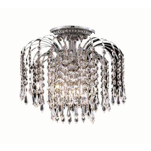 Elegant Lighting Falls Chrome Four-Light 16-Inch Flush Mount with Royal Cut Clear Crystal