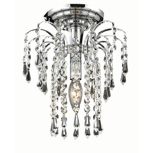 Elegant Lighting Falls Chrome One-Light 9-Inch Flush Mount with Royal Cut Clear Crystal