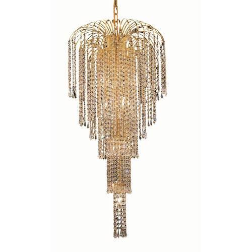 Elegant Lighting Falls Gold Nine-Light 19-Inch Chandelier with Royal Cut Clear Crystal