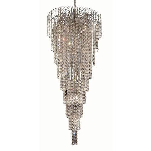 Falls Chrome Fifteen-Light 30-Inch Chandelier with Royal Cut Clear Crystal
