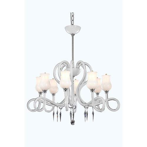Scroll White Eight-Light Chandelier with Swarovski Strass Crystal