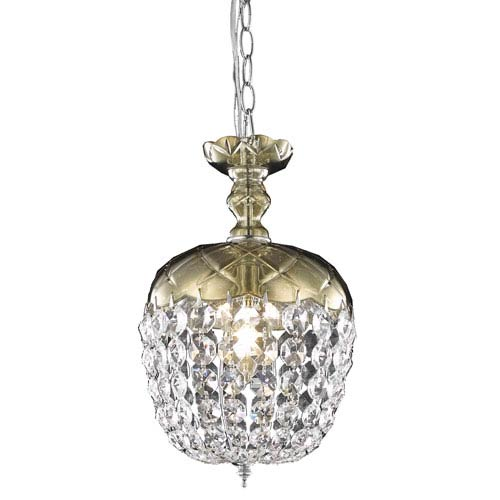 Rococo Chrome Single Light Chandelier with Golden Teak/Smoky Royal Cut Crystals