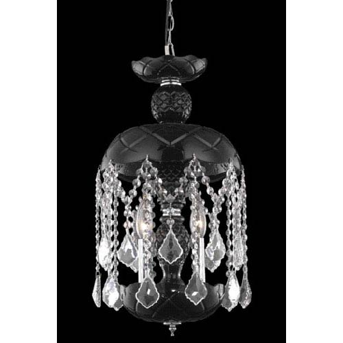 Elegant Lighting Rococo Chrome Three-Light Chandelier with Jet/Black Royal Cut Crystals