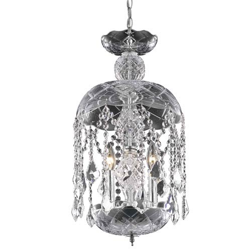 Rococo Chrome Three-Light Chandelier with Clear Royal Cut Crystals