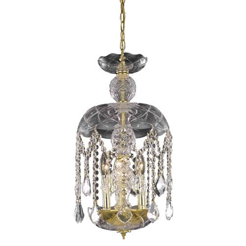 Elegant Lighting Rococo Chrome Three-Light Chandelier with Clear Royal Cut Crystals