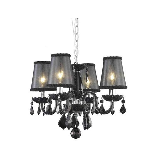 Rococo Black Four-Light Chandelier with Jet Black Royal Cut Crystal