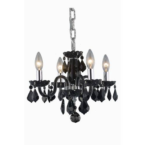 Elegant Lighting Rococo Black Four-Light Chandelier with Jet/Black Royal Cut Crystals