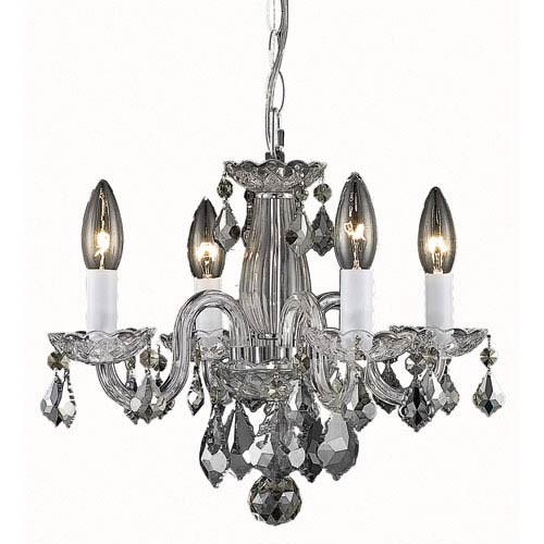 Rococo Chrome Four-Light Chandelier with Clear Royal Cut Crystals