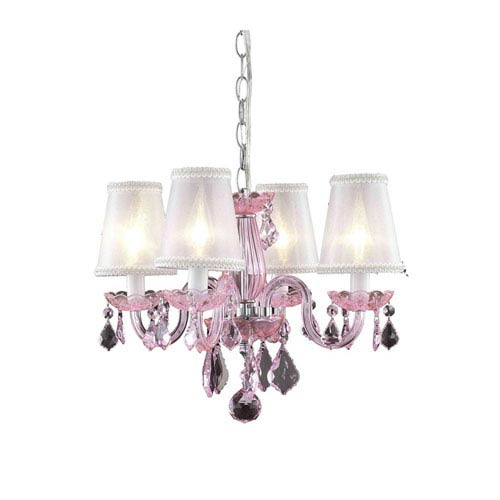 Elegant Lighting Rococo Pink Chandelier with Pink Royal Cut Crystal