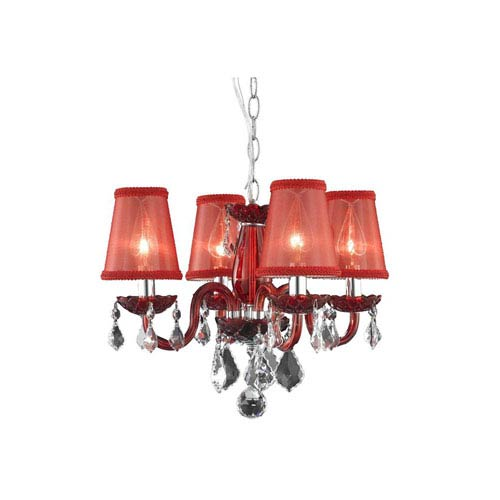 Rococo Red Chandelier with Red Royal Cut Crystal