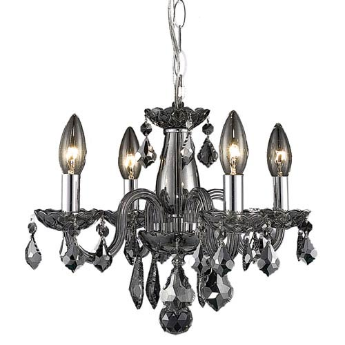Elegant Lighting Rococo Silver Shade Four-Light Chandelier with Royal Cut Crystals