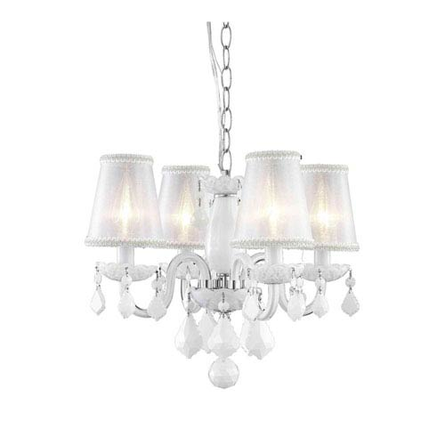 Elegant Lighting Rococo White Four-Light Chandelier with Royal Cut