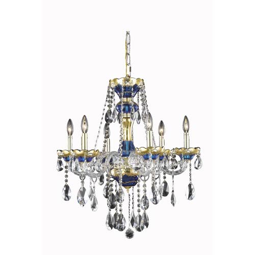 Elegant Lighting Alexandria Blue Six-Light Chandelier with Clear Royal Cut Crystals