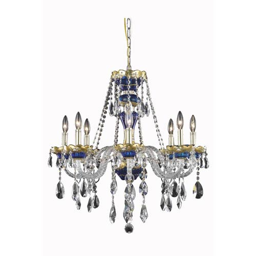 Alexandria Blue Eight-Light Chandelier with Clear Royal Cut Crystals