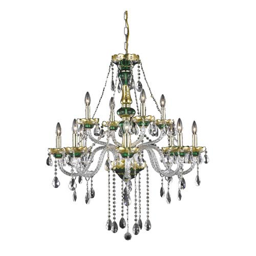 Alexandria Green Twelve-Light Chandelier with Clear Royal Cut Crystals