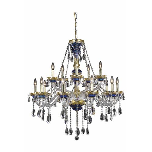 Alexandria Blue Fifteen-Light Chandelier with Clear Royal Cut Crystals