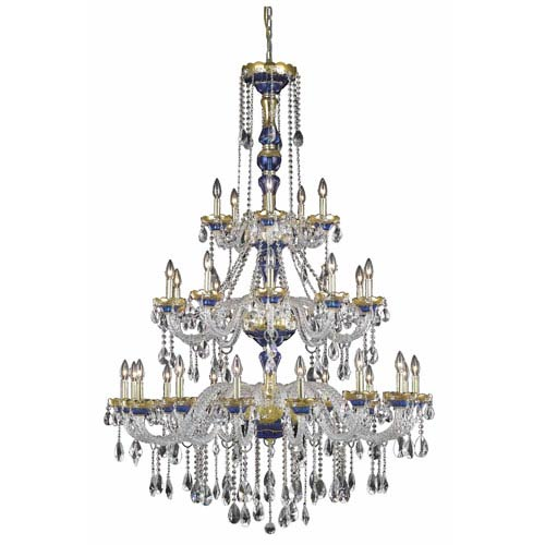 Alexandria Blue Thirty-Light Chandelier with Clear Royal Cut Crystals