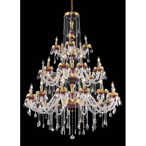 Elegant Lighting Alexandria Gold Thirty Light 45 Inch Chandelier With Royal Cut Clear Crystal
